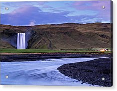 Acrylic Print featuring the photograph Skogafoss Dusk Iceland by Brad Scott