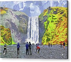 Acrylic Print featuring the digital art Skogafoss Waterfall by Digital Photographic Arts