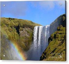 Skogafoss Waterfall With Rainbow 151 Acrylic Print
