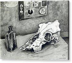 Skull And Bottle Acrylic Print