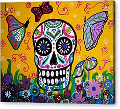 Skull And Butterflies Acrylic Print by Pristine Cartera Turkus