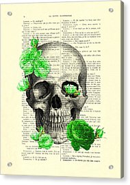 Skull And Green Roses Illustration Acrylic Print