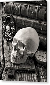 Skull And Skeleton Key Acrylic Print by Garry Gay