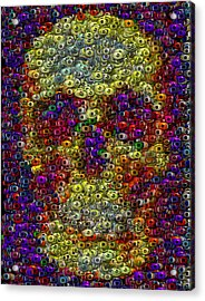 Acrylic Print featuring the mixed media Skull Eyeball Mosaic by Paul Van Scott