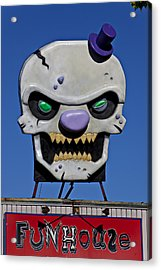 Skull Fun House Sign Acrylic Print by Garry Gay