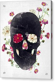 Skull Grunge Flower 2 Acrylic Print by Francisco Valle