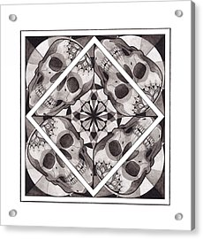 Skull Mandala Series Number Two Acrylic Print by Deadcharming Art