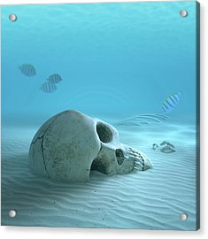 Skull On Sandy Ocean Bottom Acrylic Print