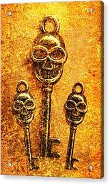Skull Shaped Keys In Flame Acrylic Print by Jorgo Photography - Wall Art Gallery
