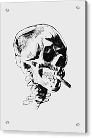 Skull Smoking A Cigarette Acrylic Print by War Is Hell Store