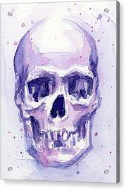 Skull Watercolor Purple Acrylic Print