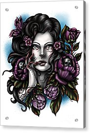 Skulls And Roses Acrylic Print