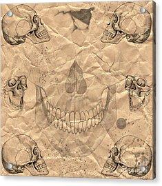 Skulls In Grunge Style Acrylic Print by Michal Boubin
