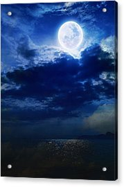 Sky Blue Full Moon Acrylic Print