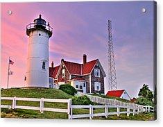 Sky Of Passion - Nobska Lighthouse Acrylic Print by Thomas Schoeller