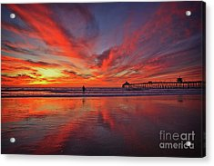 Sky On Fire At The Imperial Beach Pier Acrylic Print