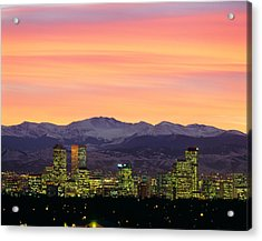 Skyline And Mountains At Dusk, Denver Acrylic Print by Panoramic Images