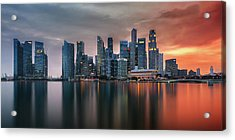 Skyline, Marina Bay, Singapore Acrylic Print by Nico Trinkhaus