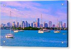 Skyline Miami Style Acrylic Print by Judy Kay