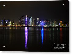 Skyline Of Doha, Qatar At Night Acrylic Print