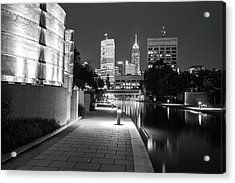 Skyline Of Indianapolis Indiana From The Canal Walk - Black And White Acrylic Print by Gregory Ballos