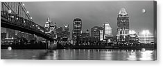 Skyline Panorama Of Cincinnati Ohio - Usa - Black And White Acrylic Print by Gregory Ballos