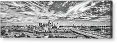 Skyline View Of Dallas  In Black And White Pano Acrylic Print
