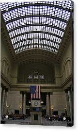Skylit Chicago Union Station  Acrylic Print by Christopher Kirby