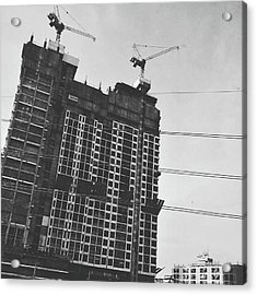 Skyscraper Under Construction Acrylic Print by Sirikorn Techatraibhop