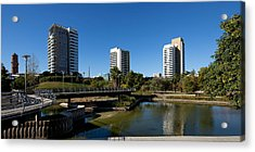 Skyscrapers In A City, Parc De La Acrylic Print by Panoramic Images