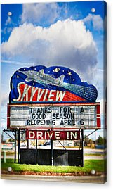 Skyview Drive-in Theater Acrylic Print by Robert  FERD Frank