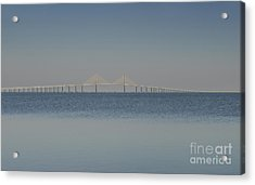 Skyway Bridge In Blue Acrylic Print by David Lee Thompson
