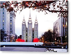 Slc Temple Red And White Acrylic Print by La Rae  Roberts