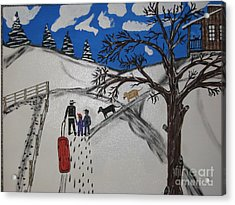 Acrylic Print featuring the painting Sled Riding by Jeffrey Koss