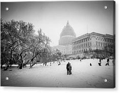 Sledding On Capitol Hill Acrylic Print by Robert Davis