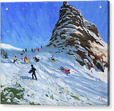 Sledging, Chrome Hill, Derbyshire, Peak District Acrylic Print by Andrew Macara