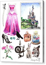 Sleeping Beauty Aurora Costume Watercolor Disney Princess Castle Dress Classic Disney World Acrylic Print by Laura Row