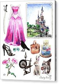 Sleeping Beauty Aurora Costume Watercolor Disney Princess Castle Dress Classic Disney World Acrylic Print