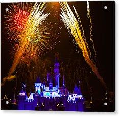 Sleeping Beauty Castle And Fireworks Acrylic Print by Sam Amato