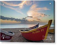 Sleeping Boats On The Beach Acrylic Print