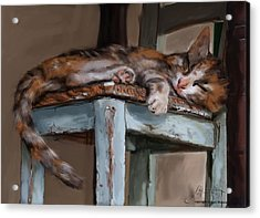 Acrylic Print featuring the painting Sleepting Cat by Thomas Lupari