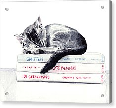 Sleepy Kitten Cat On Books Library Cute Kity Gray Striped Acrylic Print by Laura Row