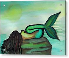 Sleepy Mermaid Acrylic Print