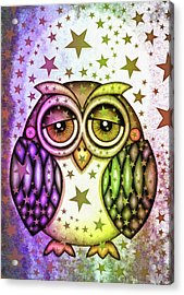 Acrylic Print featuring the photograph Sleepy Owl With Stars by Matthias Hauser