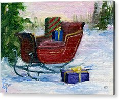 Acrylic Print featuring the painting Sleigh Aceo by Brenda Thour