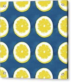 Sliced Lemons On Blue- Art By Linda Woods Acrylic Print by Linda Woods