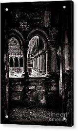 Acrylic Print featuring the photograph Sligo Abbey Interior Bw by RicardMN Photography