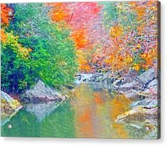 Acrylic Print featuring the digital art Slippery Rock Creek In Autumn by Digital Photographic Arts