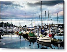 Slips At Point Hudson Marina Acrylic Print by TL Mair