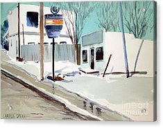 Acrylic Print featuring the painting Sloppy Slushy Washington Ave. Matted Framed Glassed by Charlie Spear